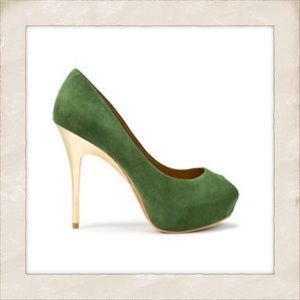 Zara Faux Suede Peep Toe Stiletto Platform, Sz10